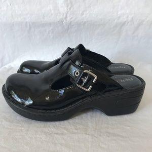 Born Black Patent Leather Della Clog Mules Shoes